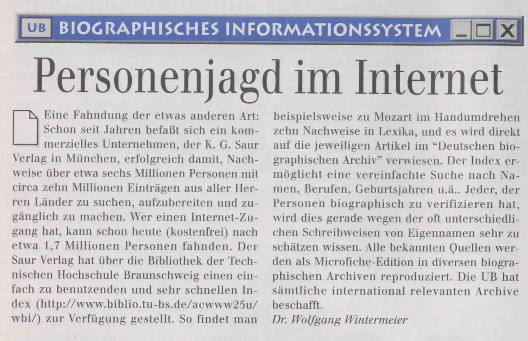 Biographisches Informationssystem: Personenjagd im Internet