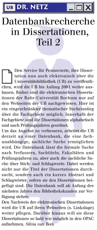 dr. Netz: Datenbankrecherche in Dissertationen, Teil 2