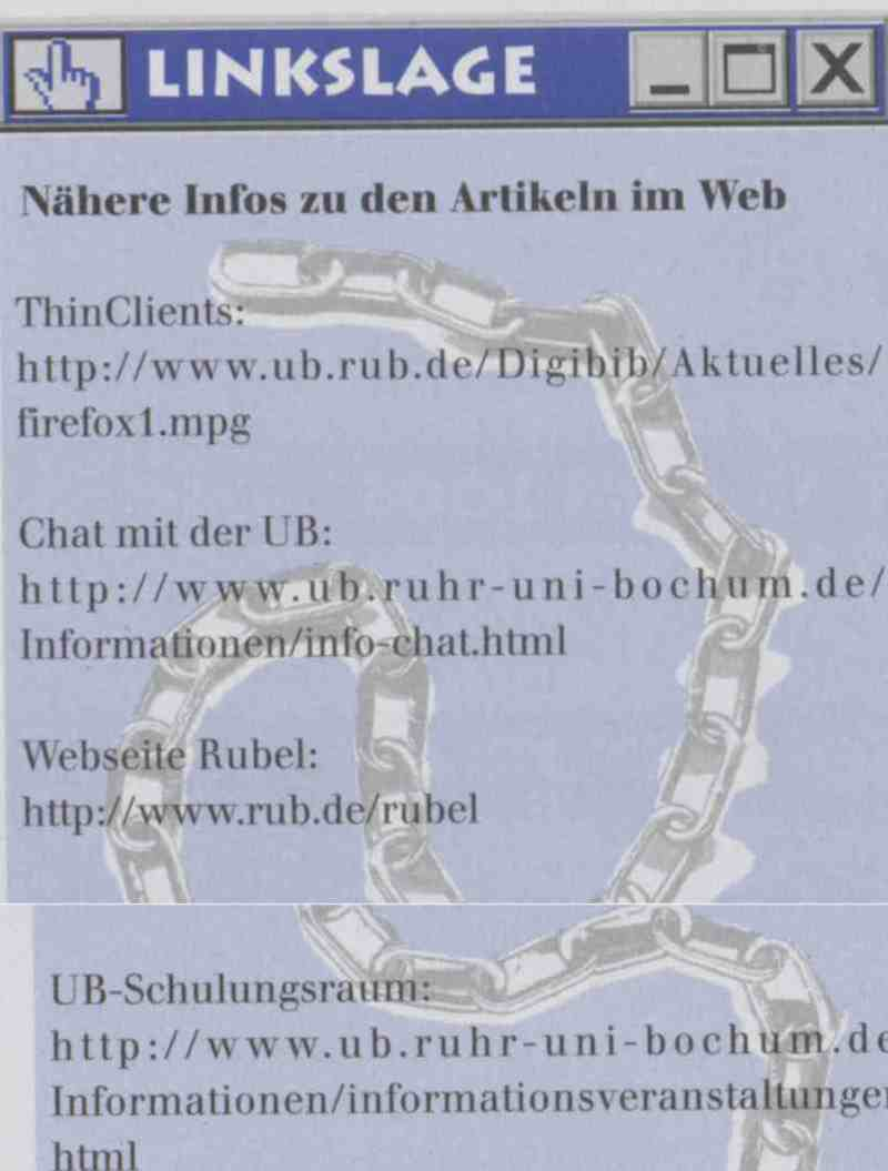 Linkslage: ThinClients, Chat mit der UB, RUBeL, UB-Schulungsraum